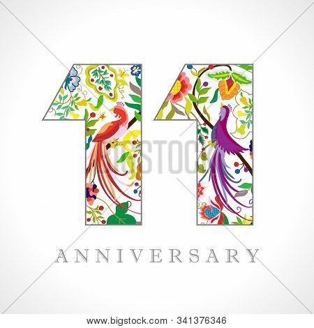 11 Years Old Logotype. 11 Th Anniversary Numbers. Decorative Symbol. Age Congrats With Peacock Birds