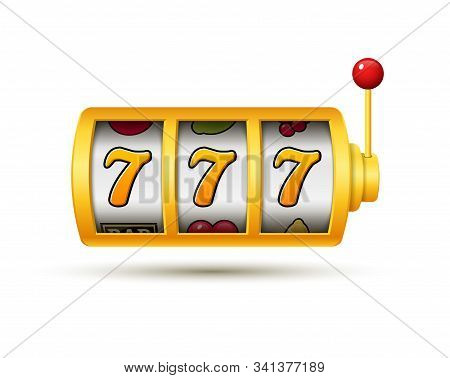 Casino Jackpot Slot Machine Lucky Vector Game Icon. 777 Slot Machine