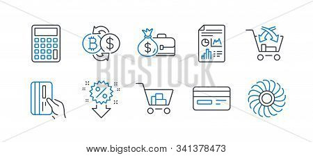 Set Of Finance Icons, Such As Salary, Calculator, Bitcoin Exchange, Credit Card, Internet Shopping,
