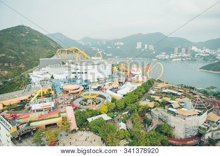 Hong Kong/china - February, 18, 2018: Panorama On The Ocean Park. Rides And Roller Coasters At Anima