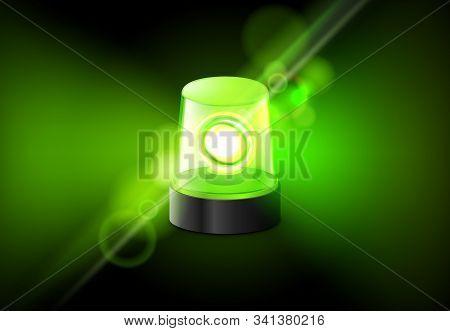 Green Siren Flasher Lamp. Urgency Ambulance Siren Vector Alarm Background