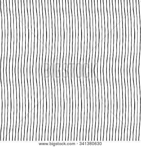 Seamless Pattern With Thin Stripes Made By Hand With Ink And Brush. Isolated On White Backgorund. Re