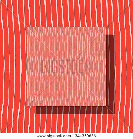 Seamless Pattern With Thin Hand-drawn Lines. Coral And White Colors. Repeatable Minimalistic Marine