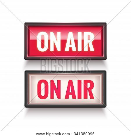 On Air Studio Light Sign. Media Broadcasting Warning Sign. Live Board Production Record Attention