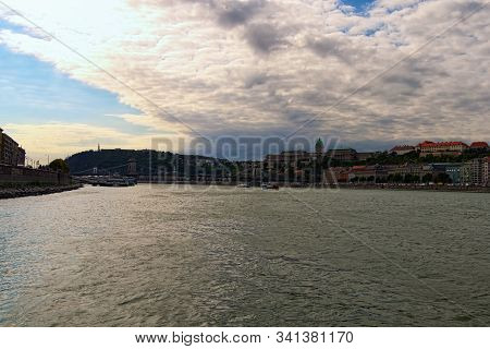 Panoramic View Of Picturesque Danube River And Buda Side With Chain Bridge And Buda Castle (royal Pa