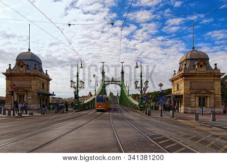 Budapest, Hungary-01 October, 2019: Picturesque Autumn Landscape. Wide Angle Landscape View Of Liber