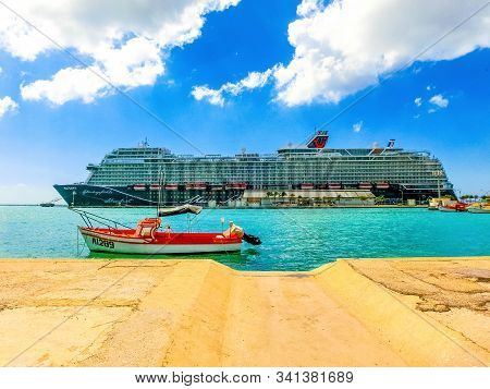 Oranjestad, Aruba - December 4, 2019: The Cruise Ship Mein Schiff 2 Docked At Aruba Island. Mein Sch
