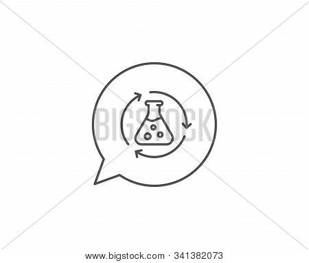 Chemistry Experiment Line Icon. Chat Bubble Design. Laboratory Flask Sign. Analysis Symbol. Outline