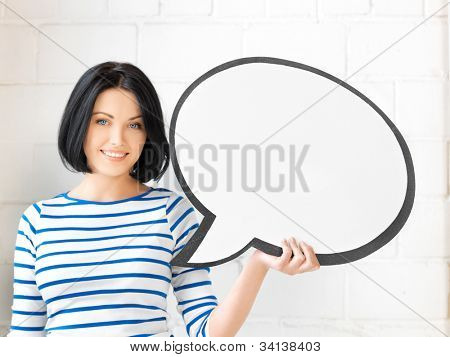 picture of happy teenage girl with blank text bubble