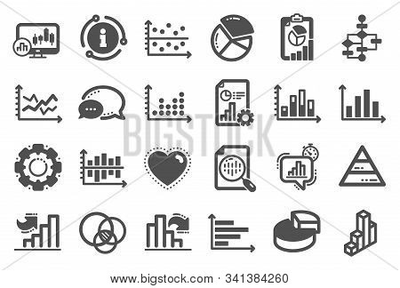 Charts And Diagrams Icons. Report, 3d Chart, Block Diagram And Dot Plot Graph Icons. Trend, Pyramid