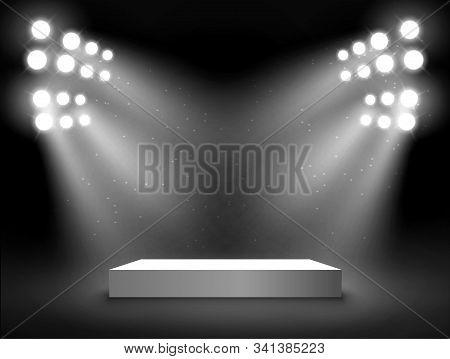 Stage Podium With Light Presentation Pedestal. Award Illuminated Show Spotlight Stage Design