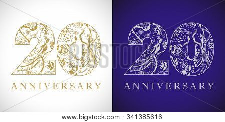 20 Years Old Logotype. 20 Th Anniversary Numbers. Decorative Symbol. Age Congrats With Peacock Birds