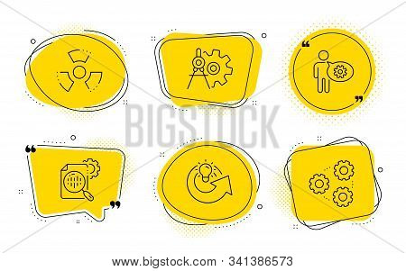 Chemical Hazard, Cogwheel Dividers And Gears Signs. Chat Bubbles. Cogwheel, Share Idea And Seo Stats