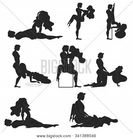Kamasutra, Poses For Making Love. Set. Yin And Yang, Man And Woman Love Each Other. Kamasutra, The A