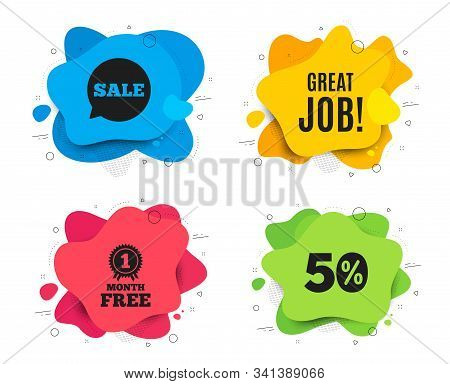 Great Job Symbol. Liquid Shape, Various Colors. Recruitment Agency Sign. Hire Employees. Geometric V