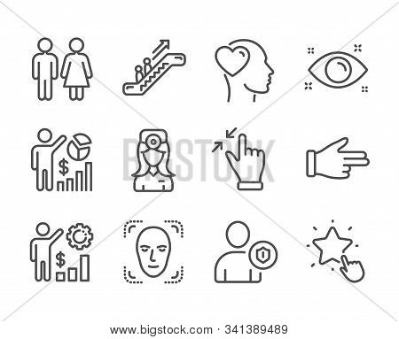 Set Of People Icons, Such As Restroom, Touchscreen Gesture, Oculist Doctor, Escalator, Seo Statistic