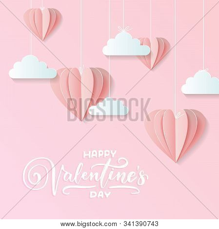 Valentines Of Craft Paper Design, Contain Pink Hearts And Clouds Are Holding By Sting On Top, Soft P