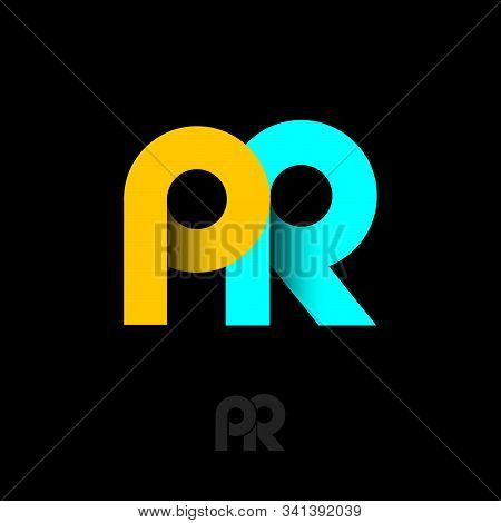 Pr Logo. Public Relations Emblem. Monogram Consist Of Yellow And Azure Ribbons. Origami Letters On D