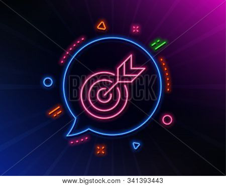 Target Line Icon. Neon Laser Lights. Marketing Targeting Strategy Symbol. Aim With Arrows Sign. Glow