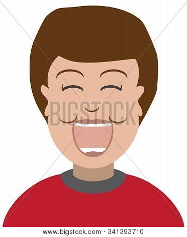 A Flat Vector Cartoon Boy In A Red Shirt Is Laughing Gleefully