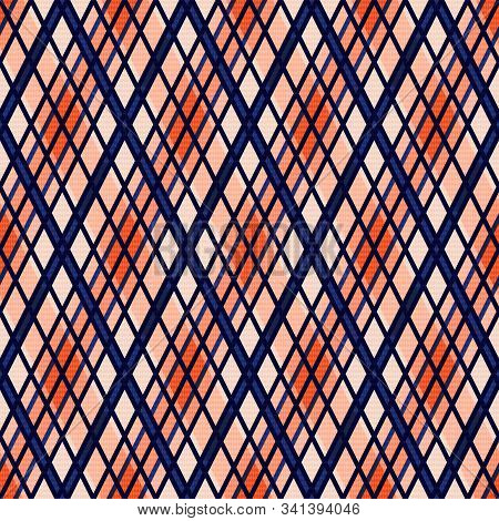 Seamless Rhombic Illustration Pattern As A Tartan Plaid In Muted Green, Pink, Blue And Beige