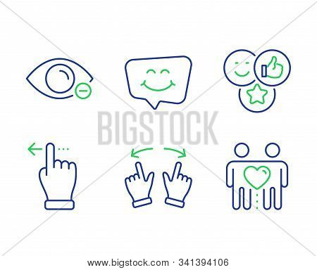 Like, Move Gesture And Touchscreen Gesture Line Icons Set. Smile Chat, Myopia And Friends Couple Sig