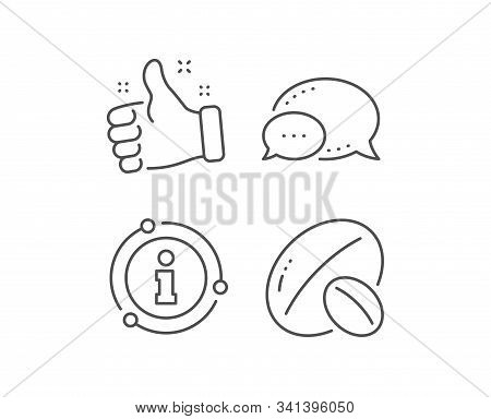 Soy Nut Line Icon. Chat Bubble, Info Sign Elements. Tasty Nuts Sign. Vegan Food Symbol. Linear Soy N