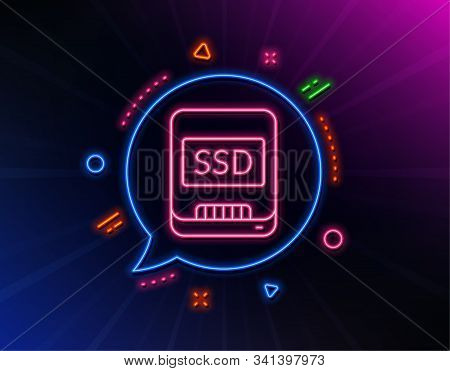 Ssd Line Icon. Neon Laser Lights. Computer Memory Component Sign. Data Storage Symbol. Glow Laser Sp