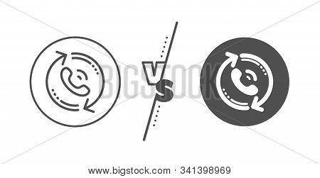 Recall Support Sign. Versus Concept. Call Center Service Line Icon. Feedback Symbol. Line Vs Classic