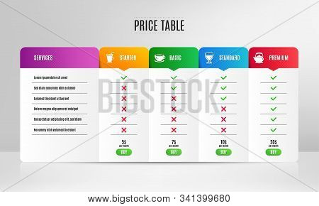 Wine Glass, Coffee Cup And Espresso Icons Simple Set. Pricing Table, Price List. Teapot Sign. Cabern