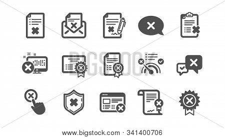 Reject Icons. Decline, Cancel And Dislike. Disapprove Classic Icon Set. Quality Set. Vector