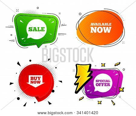 Special Offer Speech Bubbles Symbols. Banner Badges, Various Colors. Sale Icons. Buy Now Arrow Shopp