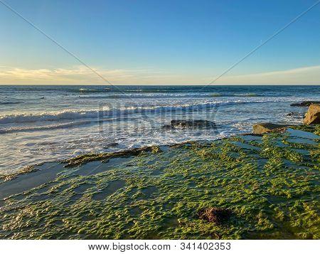 La Jolla Shores And Beach Before Sunset Twilight In La Jolla San Diego, Southern California Coast. U