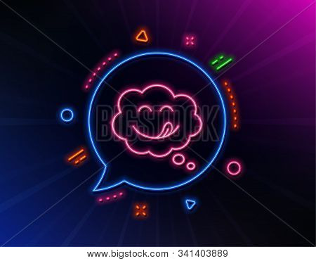Yummy Smile Line Icon. Neon Laser Lights. Emoticon With Tongue Sign. Comic Speech Bubble Symbol. Glo