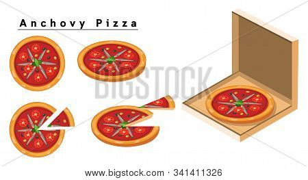 Anchovy Pizza,box Of Pizza, Isometric Pizza, Slice Of Pizza.