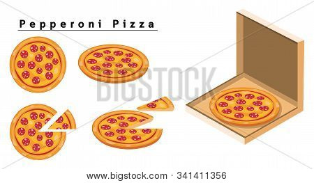 Pepperoni Pizza, Box Of Pizza, Isometric Pizza, Slice Of Pizza.