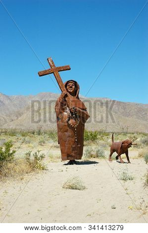 BORREGO SPRINGS, CALIFORNIA - APRIL 8, 2010: Spanish Padre Pedro Font metal sculpture in Galleta Meadows. There are over 130 sculptures in public park.