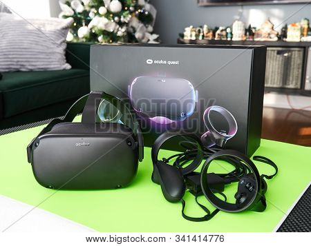 Montreal, Canada - December 23, 2019: Oculus Over Green Background. The Oculus Quest Is A First All