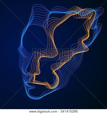 Technological Evolution Time, Digital Software Soul Of Machine, Human Head Vector Portrait Made Of D