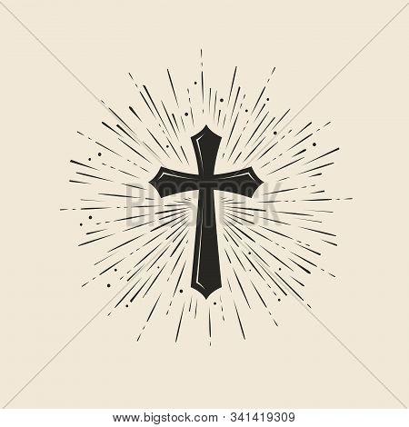 Christianity Symbol Of Jesus Christ. Cross, Worship Symbol. Vintage Vector Illustration