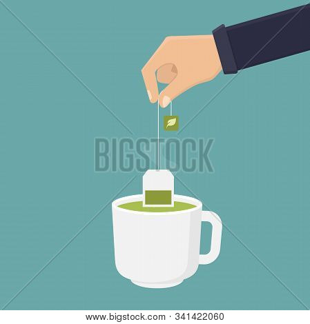 Tea Bag Green Tea, Hand Holding Green Tea Bag And Dipping Green Tea Into A Glass, Flat Design Vector