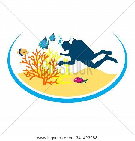 Diving Googles Icon. Diving Googles Icon Vector Flat Illustration For Graphic And Web Design Isolate