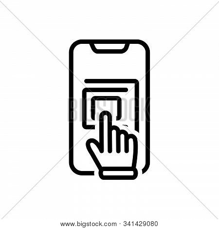 Black Line Icon For Touchscreen Hand Technology Touchpad Finger