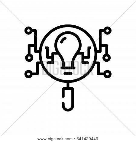 Black Line Icon For Intelligence-search Intelligence Search Intellect Comprehension