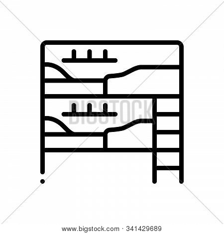 Black Line Icon For Dormitory Hostel Dorm Bedroom Dormer Hotel Residential Room