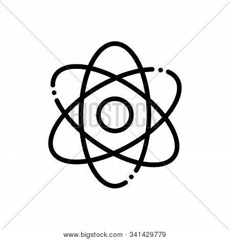 Black Line Icon For Atomizing  Molecules  Quantum  Atom Particle Orbiting Symbol