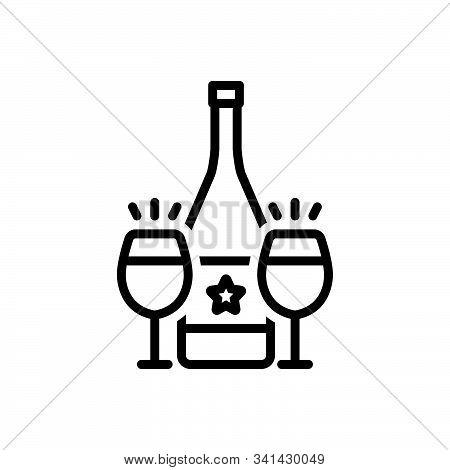 Black Line Icon For Cava Wine Bottle Glass Drink Alcohal Liquor Beverage Libation