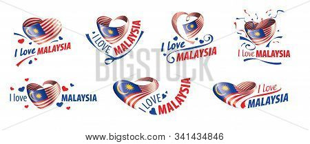 The National Flag Of The Malaysia And The Inscription I Love Malaysia. Vector Illustration