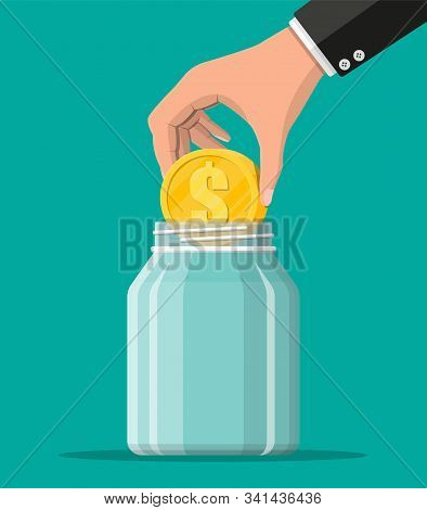 Glass Money Jar With Big Gold Coin. Saving Dollar Coin In Moneybox. Growth, Income, Savings, Investm