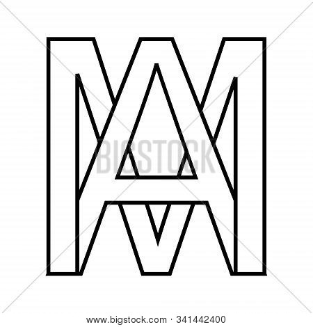 Logo Sign Am, Ma Icon Sign Interlaced Letters A, M Vector Logo Am, Ma First Capital Letters Pattern